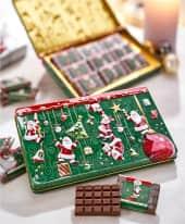 Geschenkdose Christmas Time, Edelvollmilchschokolade, 9 Täfelchen á 10g Inszeniertes Bild