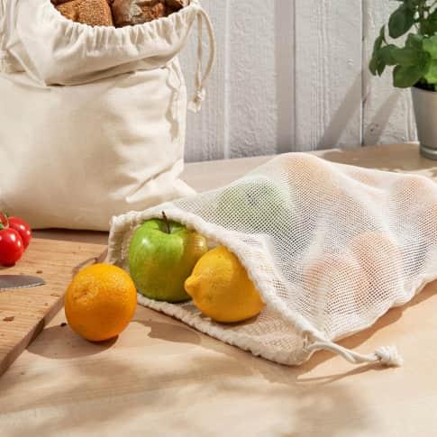 Baumwoll-Netzbeutel, nachhaltig, wiederverwendbar Inszeniertes Bild