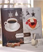 Adventskalender Kaffee & Tee, 12 BIO-Tees und 12 Kaffeevariationen Inszeniertes Bild