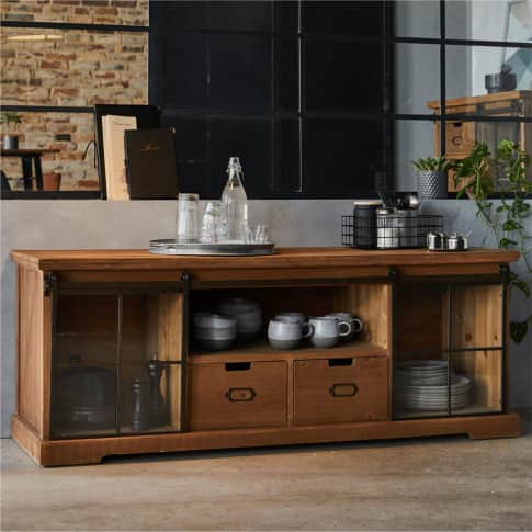 Lowboard Rusty, rustikal, Holz, Glas, Metall, ca. 160 cm breit Inszeniertes Bild