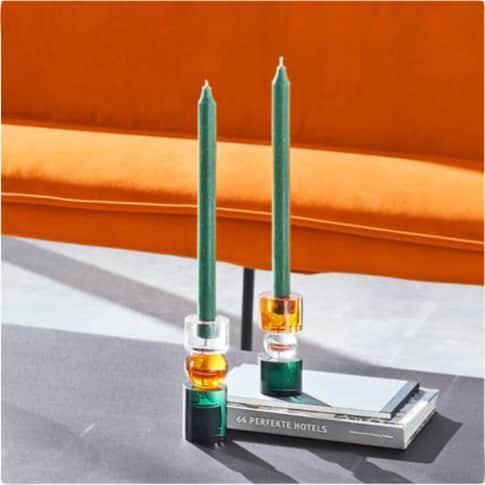 Kerzenständer-Set, 2-tlg. Crystal, für Stabkerzen geeignet Inszeniertes Bild