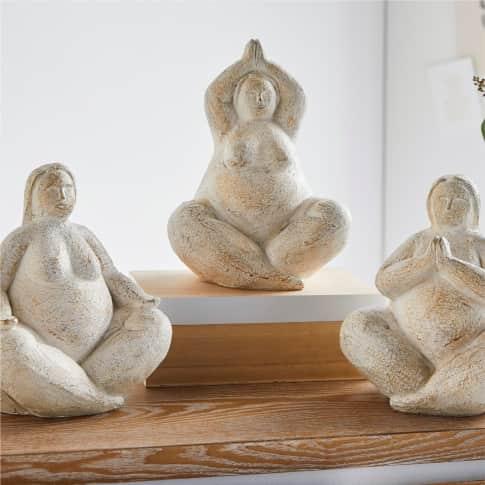 Deko-Figuren-Set, 3-tlg. Yoga Inszeniertes Bild