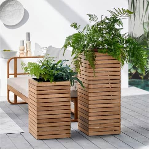 Outdoor-Pflanztopf Primo, Pflanzsäule, modern, Holz, Zink Inszeniertes Bild