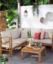 Outdoor-Lounge-Set, 4-tlg. Roma, Ecksofa inkl. Auflagen, mit Tisch, Natur-Look, Holz Inszeniertes Bild