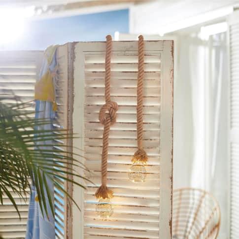 Solarleuchte Seil, Gartenleuchte zum Hängen, mit Juteseil, ca. H115 cm Inszeniertes Bild