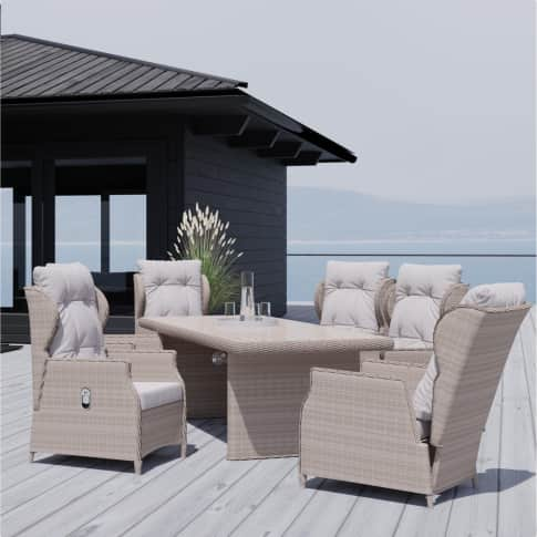 Outdoor-Möbel-Set, 7-tlg. Ibiza, 6 Sessel inkl. Auflagen, Tisch mit Sicherheitsglasplatte, klassisch, Polyrattan Inszeniertes Bild