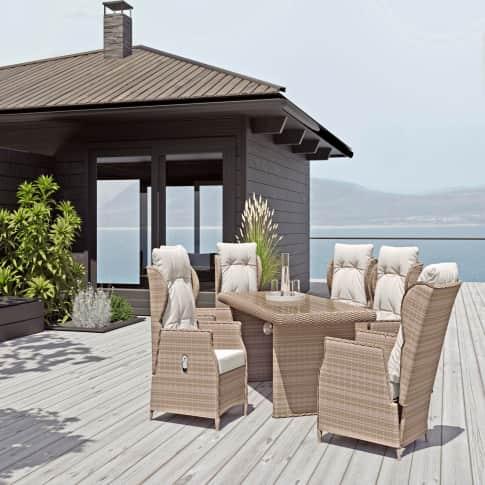Outdoor-Möbel-Set, 7-tlg. Ibiza, inkl. Auflagen, Rattan Inszeniertes Bild