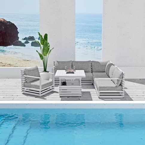 Outdoor-Lounge-Set, 3-tlg. Varadero mit Kamintisch, inkl Auflagen, Alu Inszeniertes Bild