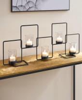 Metall-Kerzenhalter Quadra, inkl. 5 Gläser Inszeniertes Bild