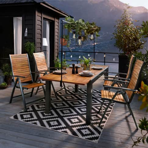 Outdoor-Klappsessel Santorin, Hochlehner, modern, Holz, Aluminium Inszeniertes Bild