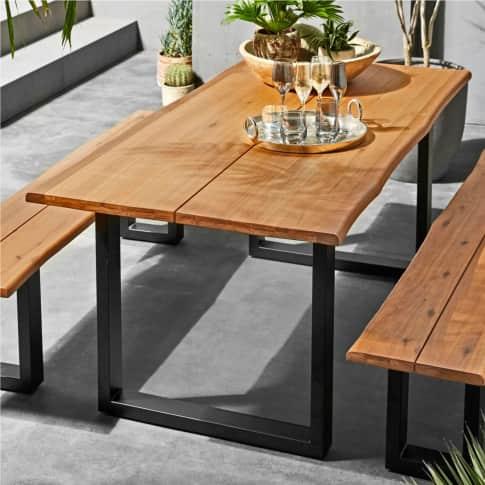 Outdoor-Tisch Brixen, rustikal, Holz, Metall, L180 x B90 cm Inszeniertes Bild