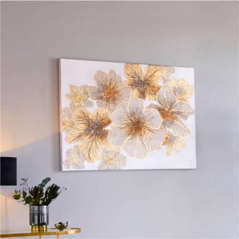 Bild Flores, goldfarbener Blütendruck, ca. 90 x 120 cm Inszeniertes Bild