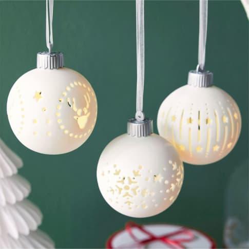 LED-Kugel-Set, 3-tlg. Weihnachtsmotive Inszeniertes Bild