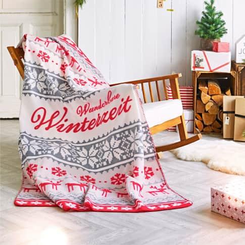 Fleecedecke Norwegian, winterlicher Allover-Print, 100% Polyester, ca. 130 x 180 cm Inszeniertes Bild