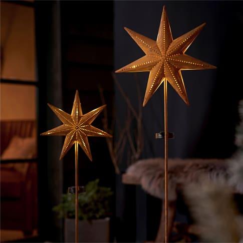 Solarstecker-Set, 2-tlg. Star,  Rost-Finish, Metall, ca. 116 und 120 cm hoch Inszeniertes Bild