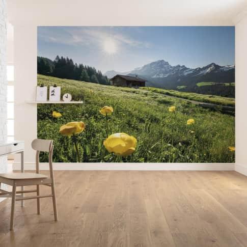 Vlies Fototapete Almhütte Inszeniertes Bild