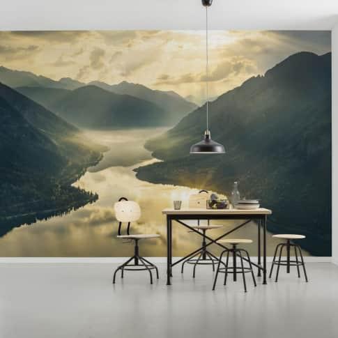 Vlies Fototapete Goldener See Inszeniertes Bild