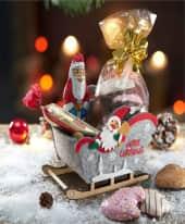 Schlitten, mit Füllung Merry Christmas, Vollmilchschokolade, Marzipan-Brot, Lebkuchen-Allerlei Inszeniertes Bild