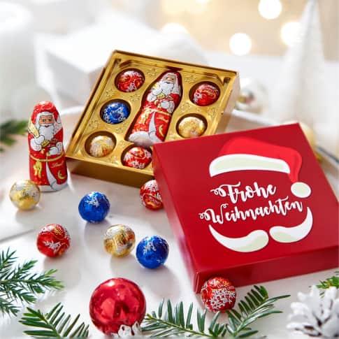 Präsentschachtel Weihnachtsmann, 7 Mini-Lindor-Kugeln, 1 Weihnachtsmann 10g Inszeniertes Bild