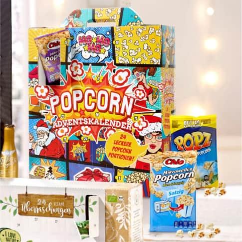 Adventskalender Popcorn, Mikrowellen-Popcorn, Süß, Salz, Süß-Salz, Paprika, Butter, Käse, Wasabi und 50% weniger Fett Inszeniertes Bild