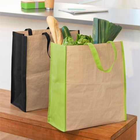 Kraftpapier-Einkaufstasche zweifarbig Inszeniertes Bild