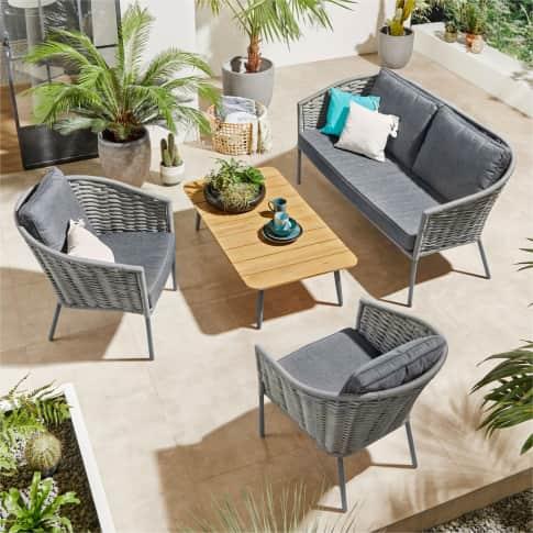 Outdoor-Möbel-Set, 4-tlg Marina, Gartenbank, 2 Sessel, mit Seilbespannung, inkl. Polstern, Tisch, modern Inszeniertes Bild