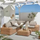 Outdoor-Lounge-Set, 2-tlg. Sylt, großes Ecksofa inkl. bequemen Sitz- und Rückenpolstern, Natur-Look, Polyrattan Inszeniertes Bild