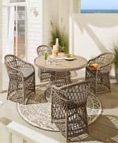 Spar-Set Outdoor-Möbel-Set, 5-tlg. Lore, runder Tisch mit 4 Stühlen, Boho-Style, Polyrattan, Holz Inszeniertes Bild