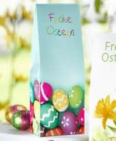 Standbeutel-Set, 5-tlg., Hohl-Eier aus Vollmilchschokolade, Eier aus Milchschokolade mit Haselnusscreme-Füllung Inszeniertes Bild