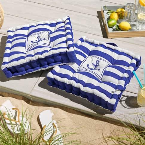 Sitzkissen Anker, Anker-Motiv auf der Vorderseite, Baumwolle, Füllung Polyester, ca. L40 x B40 x H8 cm Inszeniertes Bild