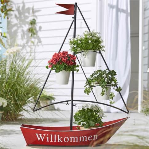 Pflanztopf Segelboot, für 3 Pflanztöpfe , Metall, ca. 90 cm hoch Inszeniertes Bild