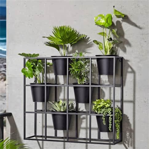 Regal Pflanztopf, Blumenregal mit 6 Übertöpfe für die Wand, modern, Metall, ca. B84 x H73 cm Inszeniertes Bild