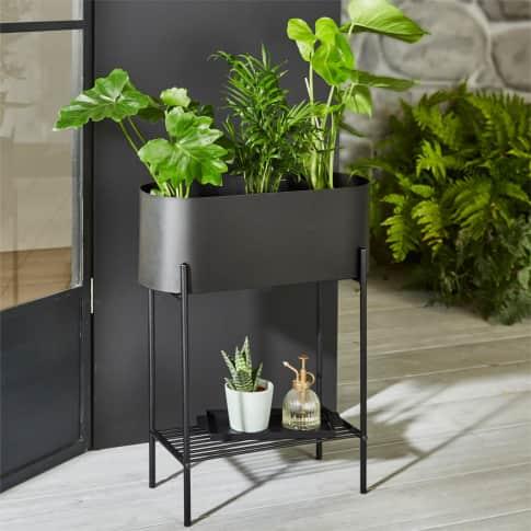 Pflanztopf Oval, moderne Plantbox, mit Ablage unten, skandinavisch, Metall Inszeniertes Bild