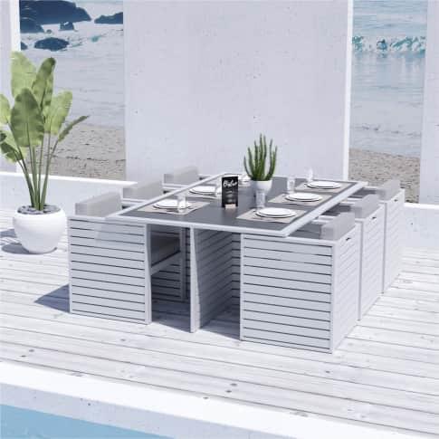 Outdoor-Essgruppe, 7-tlg. Varadero, Esstisch mit 6 Stühlen, modern, Aluminium Inszeniertes Bild