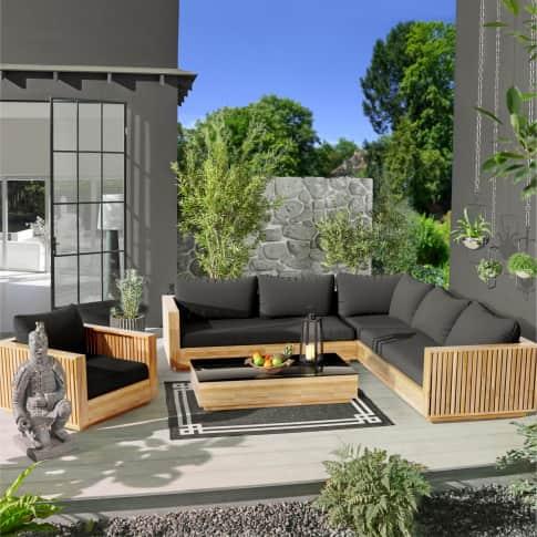 Outdoor-Lounge-Set, 3-tlg. Monte Carlo, großes Ecksofa und Sessel inkl. Auflagen, Tisch mit schwarzer Glasplatte, edel, Holz Inszeniertes Bild