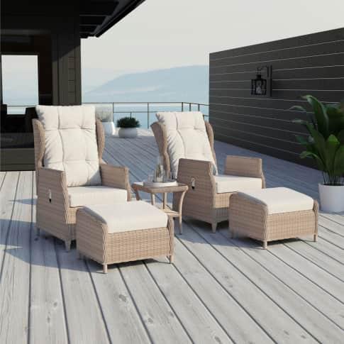 Outdoor-Sessel-Set, 5-tlg. Ibiza, 2 Gartensessel mit Hocker, inkl. Auflagen, klassisch, Polyrattan Inszeniertes Bild