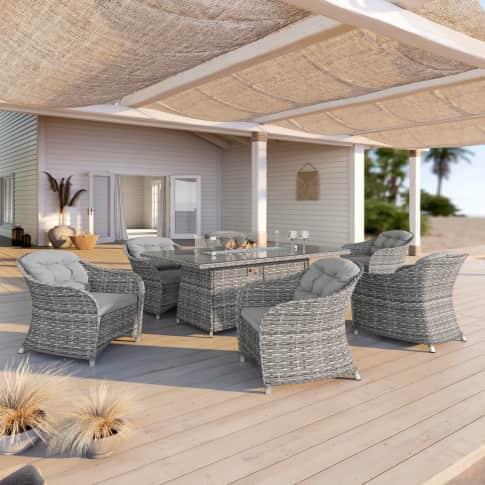 Outdoor-Essgruppe, 7-tlg. Fireplace, 6 Sessel mit Polster, Esstisch mit Feuerstelle, edel, Polyrattan, Rattan Inszeniertes Bild