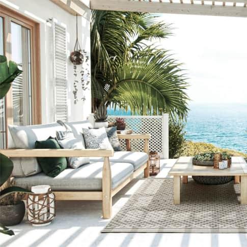 Outdoor-Lounge-Set, 4-tlg. Aruba, Gartenbank, 2 Sessel, inkl. Polster, Couchtisch, Natur-Look, Holz Inszeniertes Bild