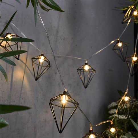 Solar-Lichterkette Akita, geometrische Formen, Metall, ca. L360 cm Inszeniertes Bild