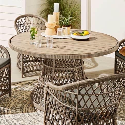 Outdoor-Tisch Lore, runder Gartentisch, Boho-Style, Polyrattan, Holz, ca. Ø137 cm Inszeniertes Bild