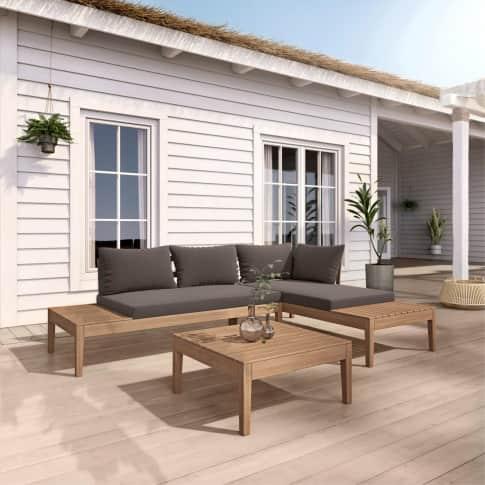 Outdoor-Lounge-Set, 3-tlg. Gino, Holz Inszeniertes Bild