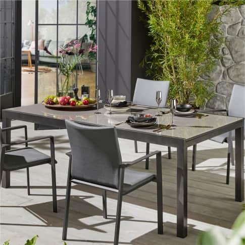 Outdoor-Ausziehtisch Futuro, Gartentisch, modern, Aluminium, Glas Inszeniertes Bild