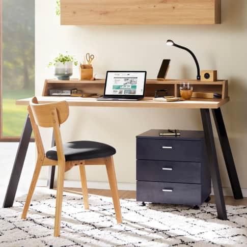 Schreibtisch, 140 x 70 cm Hanno, mit Aufsatz, Holz, Metall Inszeniertes Bild