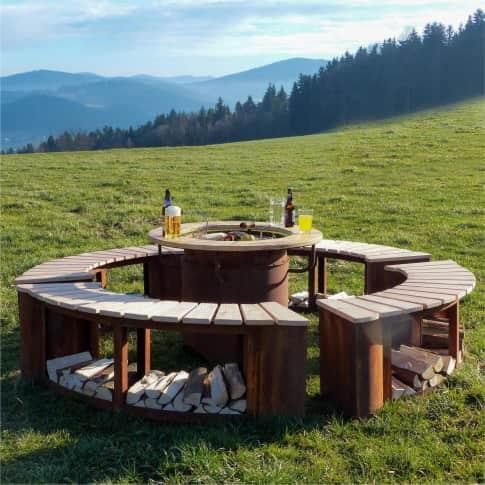 Outdoor-Sitzgruppe, 5-tlg. Feuer- & Grillstelle Inszeniertes Bild
