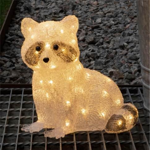 LED-Deko-Figur Waschbär Timmy, 48 Dioden, warmweiß, Outdoor geeignet, Kunststoff, ca. H27 cm Inszeniertes Bild