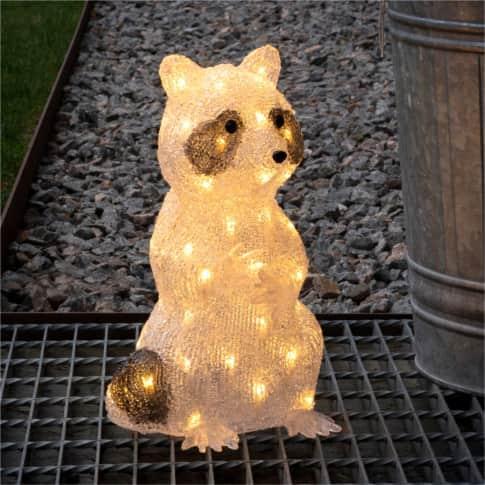 LED-Deko-Figur Waschbär Tommy, warmweiß, Outdoor geeignet, Kunststoff, ca. H34 cm Inszeniertes Bild