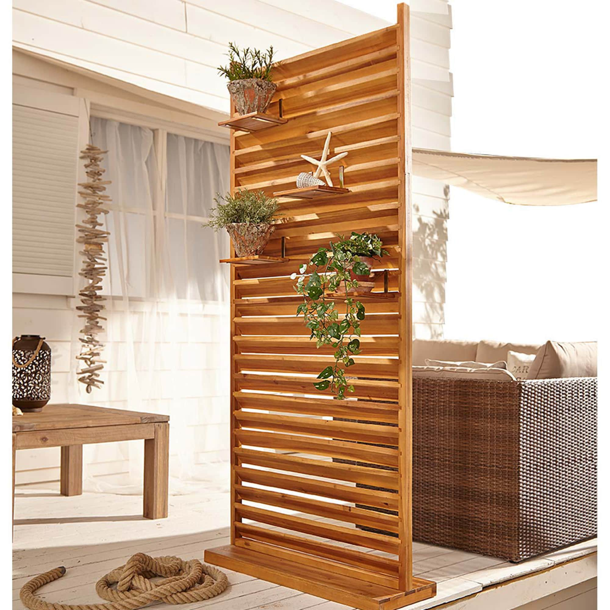Outdoor Sichtschutz, groß Lamellen, quergelattete Lamellen, Akazienholz,  ca. B20 x T20 x H120 cm